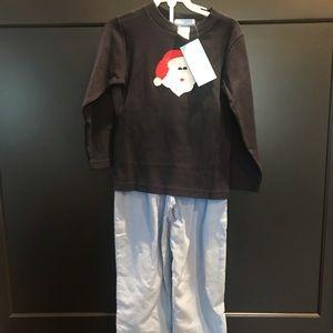 NWT Monday's Child Santa appliqué top & pants sz3t